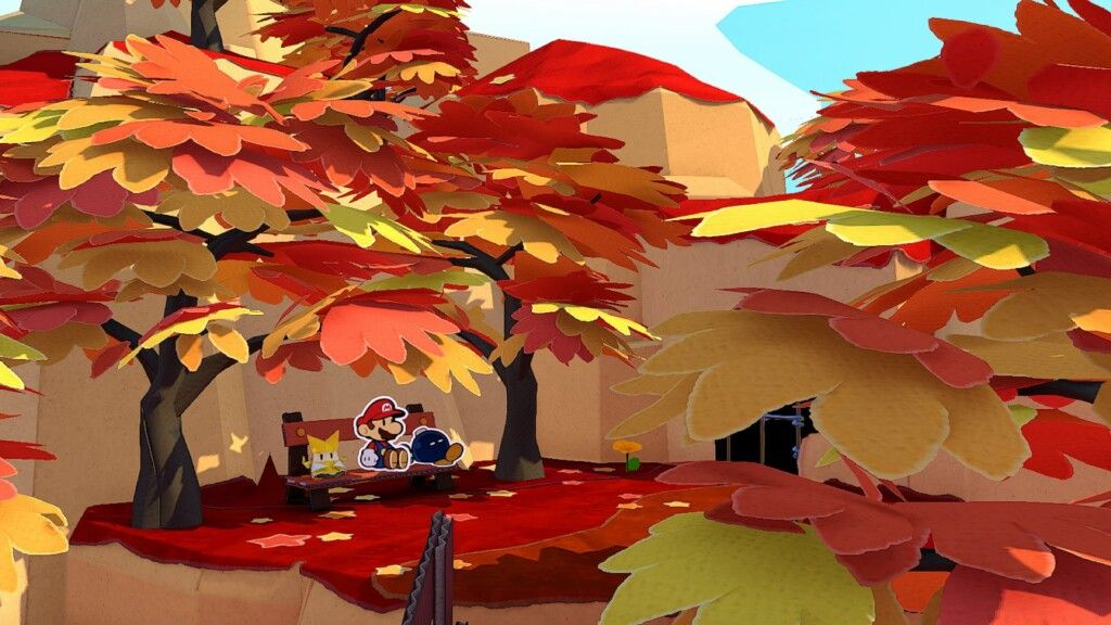 Paper Mario: The Origami King fall forest screenshot
