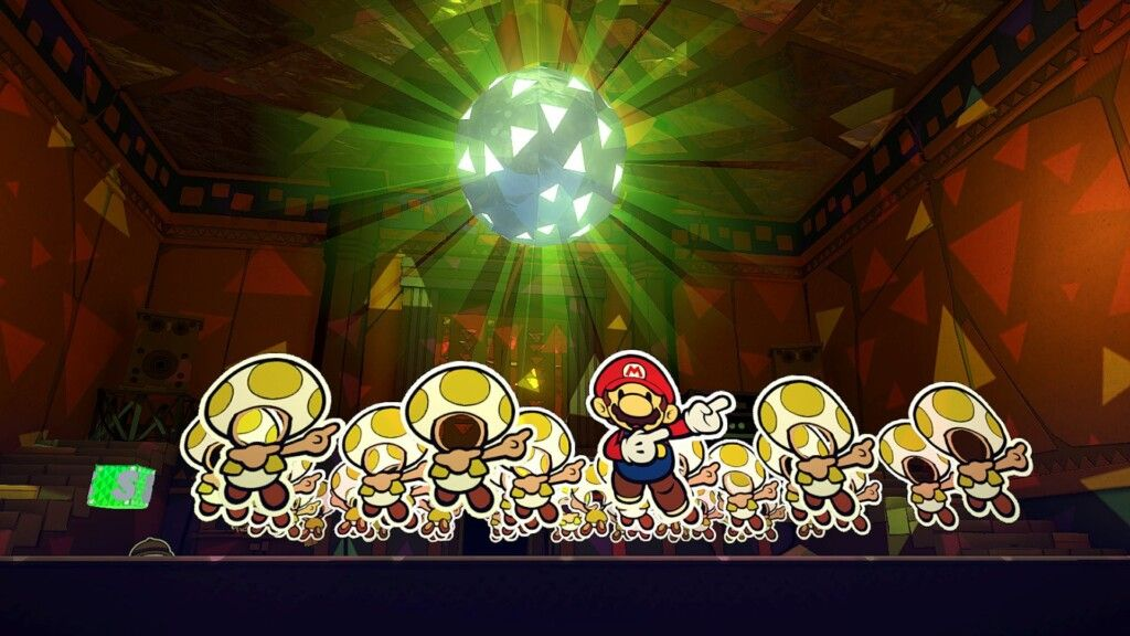 Paper Mario and faceless Paper Toads dancing