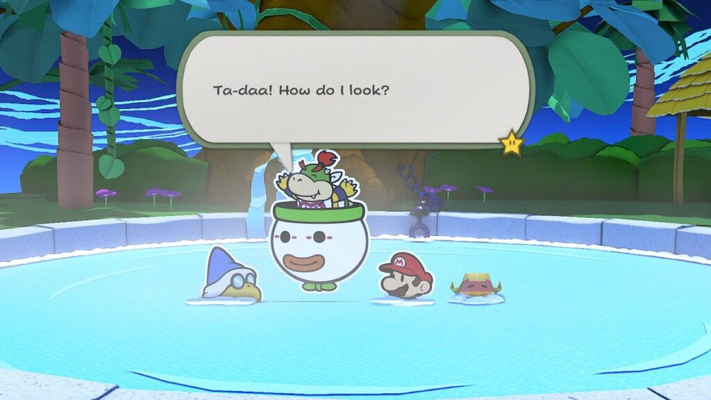 Bowser Jr at a hot spring