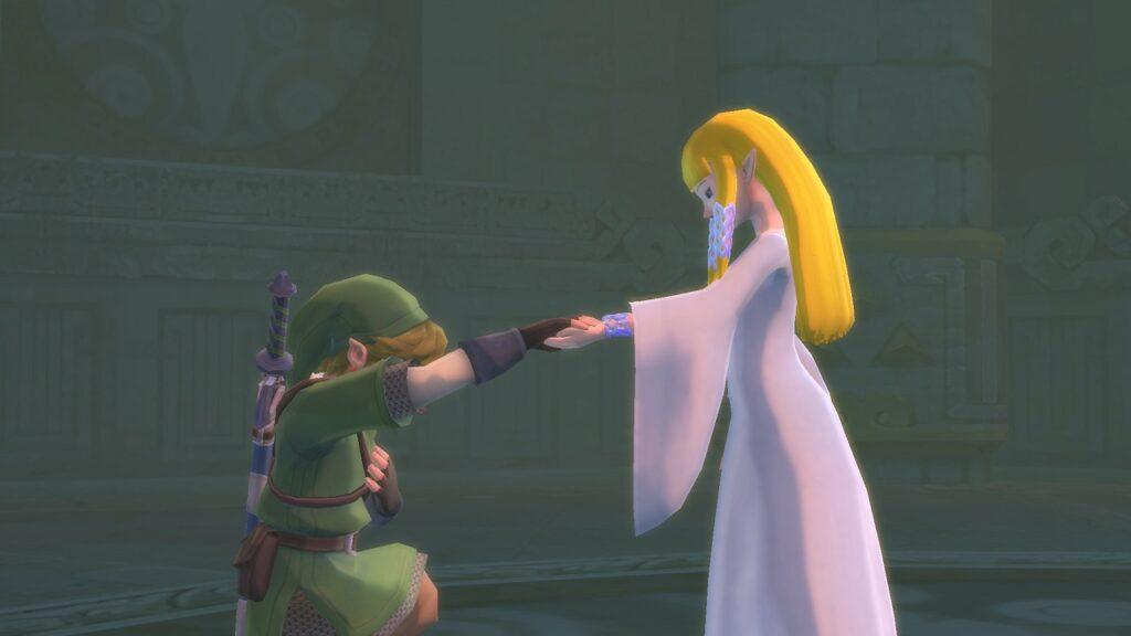 Link kneeling in front of Zelda