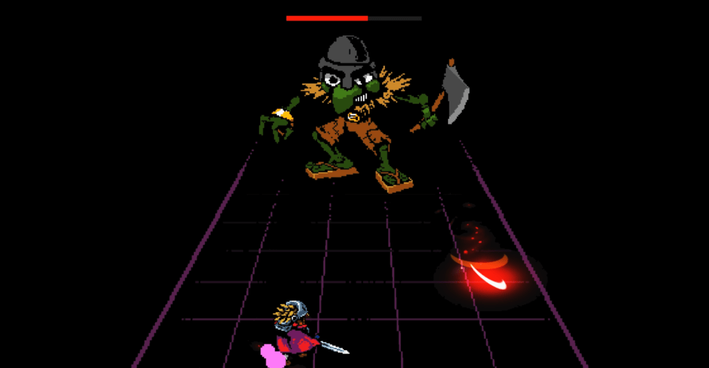 Red fighting a goblin